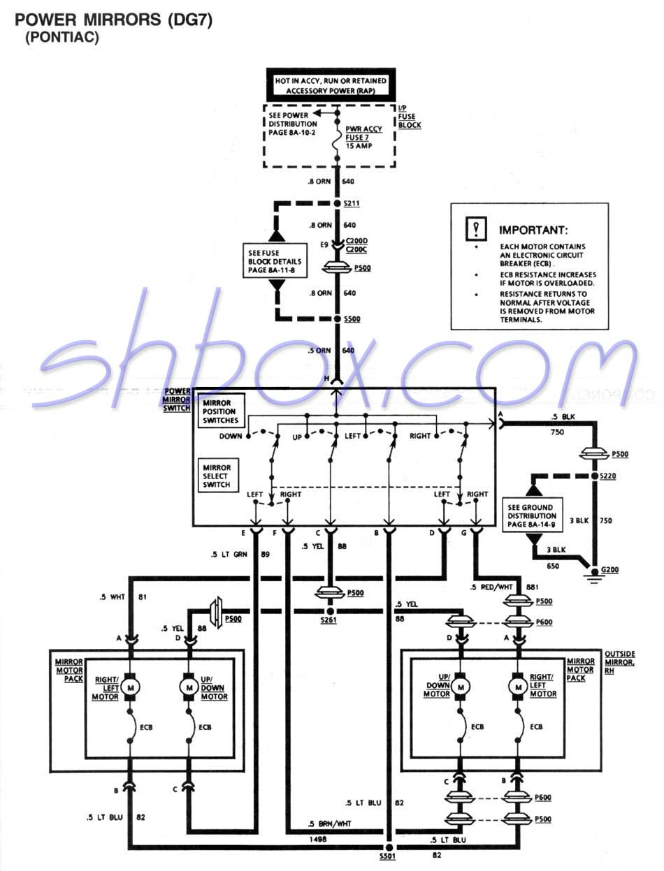 Power Mirror Schematic (1995 Firebird)