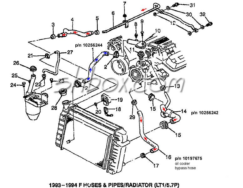 4th gen lt1 f body tech aids drawings exploded views 2002 Impala Vacuum Line radiator hoses 1993 1994 exploded view
