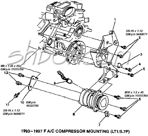 4th gen lt1 f body tech aids drawings exploded views 2005 Impala Vacuum Line a c pressor mounting