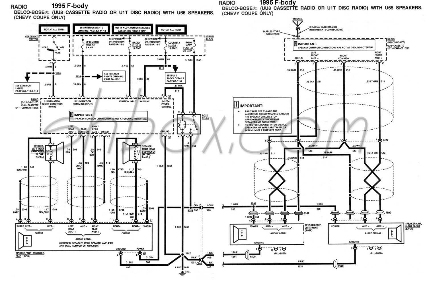 bose_wiring 4th gen lt1 f body tech aids 1995 camaro stereo wiring diagram at virtualis.co