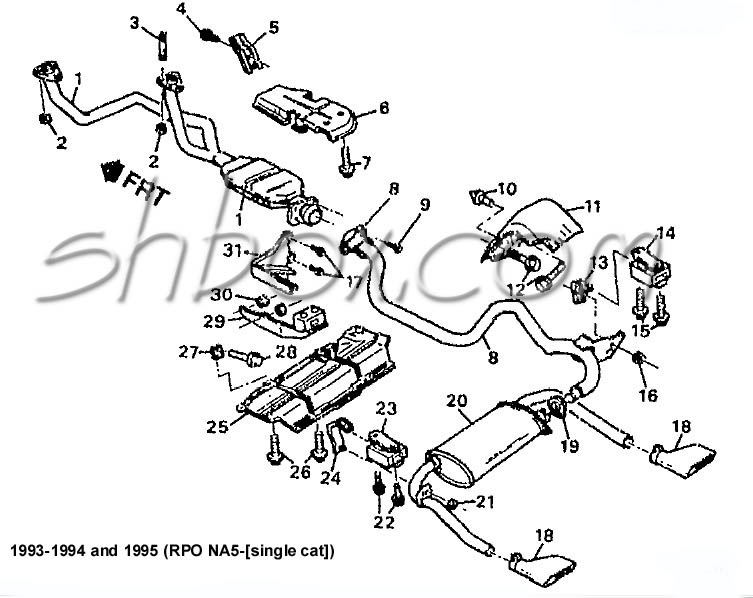 4th gen lt1 f body tech aids drawings & exploded views 2007 pontiac firebird exhaust system exploded view 1993 1995 (single cat)