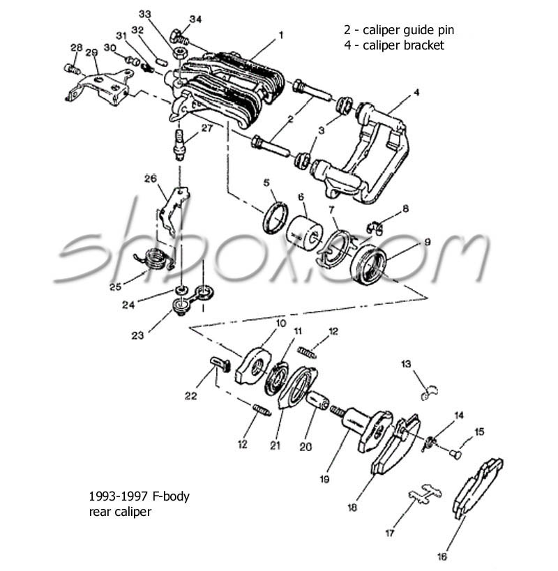 4th gen lt1 f body tech aids drawings exploded views 2003 Expedition Vacuum Line rear caliper exploded view