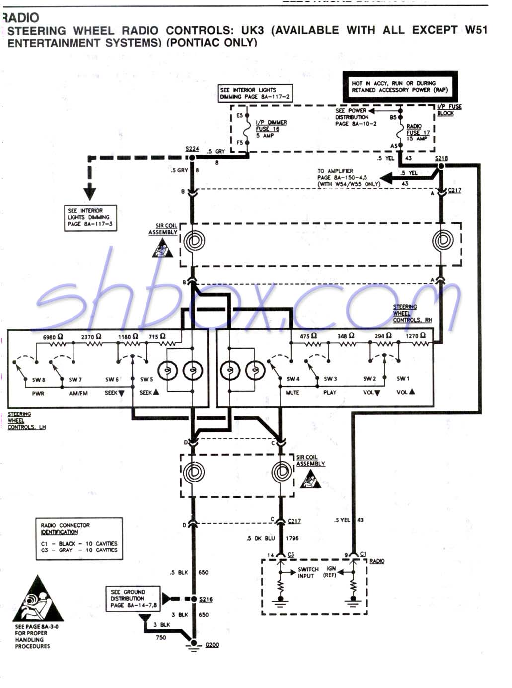 Steering Wheel Radio Controls Schematic (Firebird)